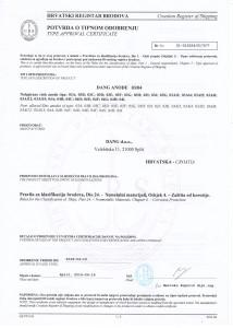 potvrda o tipnom odobrenju anoda za zaštitu trupa i kormila